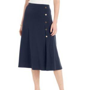 JM Collection Button-Side Skirt, Navy, NWT